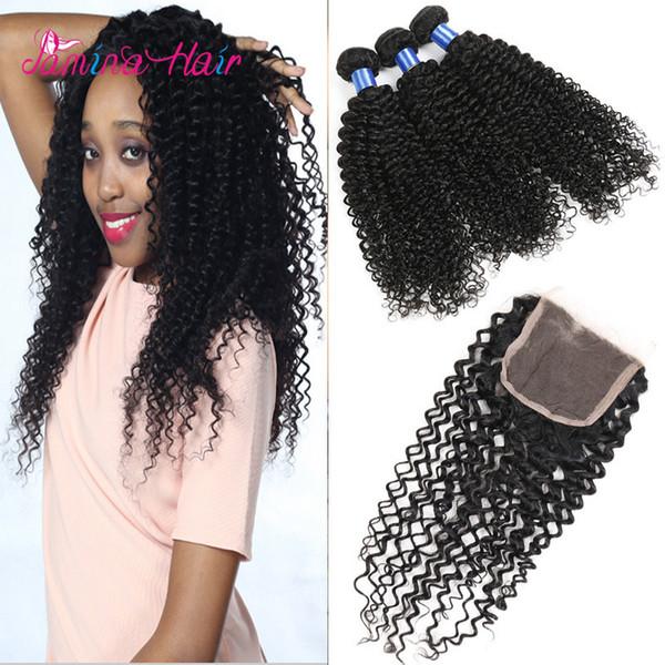 La cutícula rizada rizada brasileña del pelo rizado alineó la extensión 4bundles del pelo humano rizado con el cierre los últimos tejidos del pelo rizado en Kenia