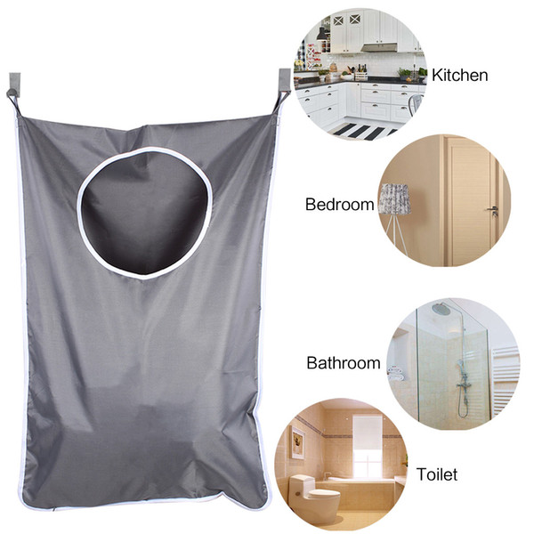 Laundry Nook Door-Hanging Laundry Hamper with 2 PCS Stainless Steel Hooks and Suction Cups Dark Gray Space Saving