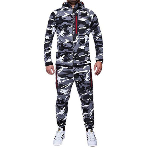 Tracksuit Men Camouflage Hoodies Pants Sets Sweatshirts Hoodies Mens Sportswear Suits jaqueta masculina T-shirt Man's