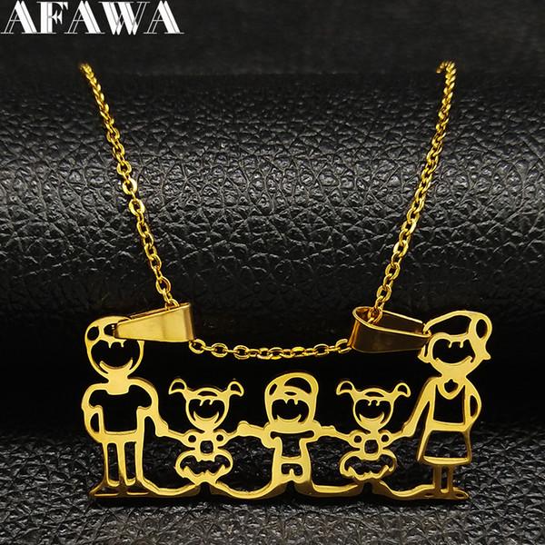 2018 Famliy две девушки мальчик из нержавеющей стали ожерелье женщины золотой цвет цепи ожерелье ювелирные изделия Acero неокисляемые joyeria N18597