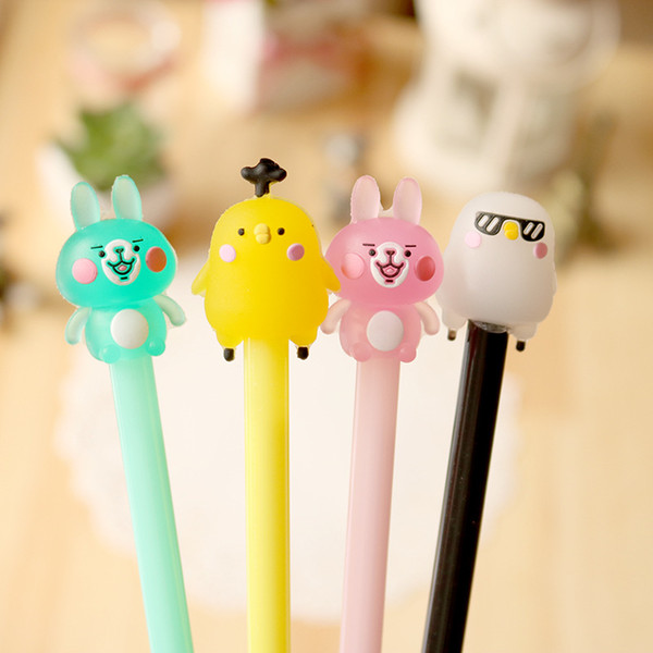 2pcs/Lot Creative Gel pen Neutral pen Cute Animal Black lnk pens Writting School Office stationery Lovely Students supplies Gift