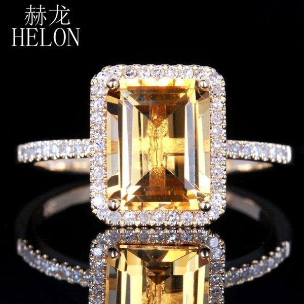 helon citrine 6.5x8.5mm emerald 0.2ct diamond accent ring real 14k yellow gold engagement wedding fashion jewelry women ring, Golden;silver