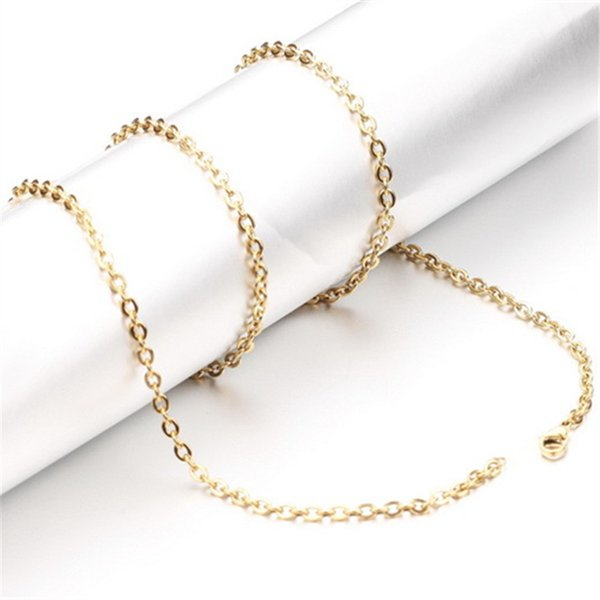 Start 100pcs Gold Color Stainless Steel Necklace Chain O Shape 2mm 3mm Width 18 20 22 24 Inch Length Fashion Women Jewelry