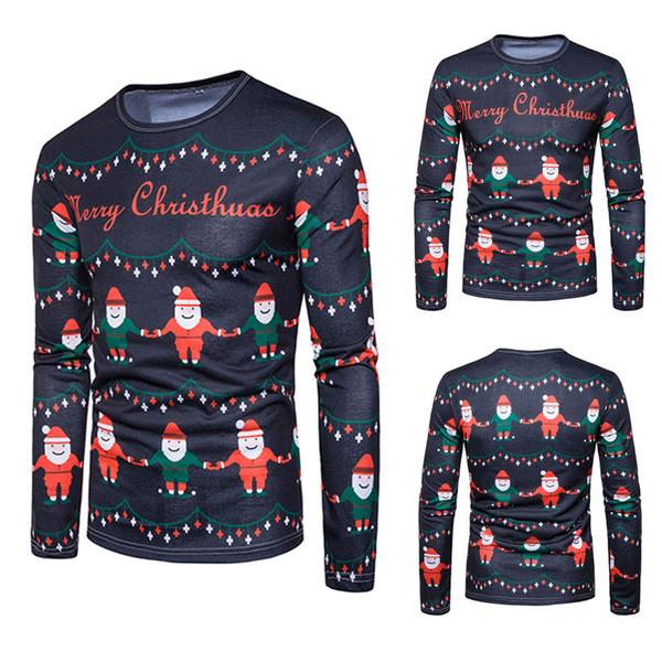 Sunfree Noel Ana Ürün Serin Boy Değerinde Karikatür Bluz Kış Rahat Moda Stil Karikatür Noel 3L60 Tops