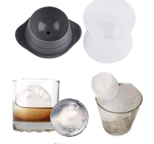 2 Pcs /Set Round Shape Ice Mold Silicone Classic Cocktails Drink Beverage Round Perfect Ice Ball Maker Bar Tools