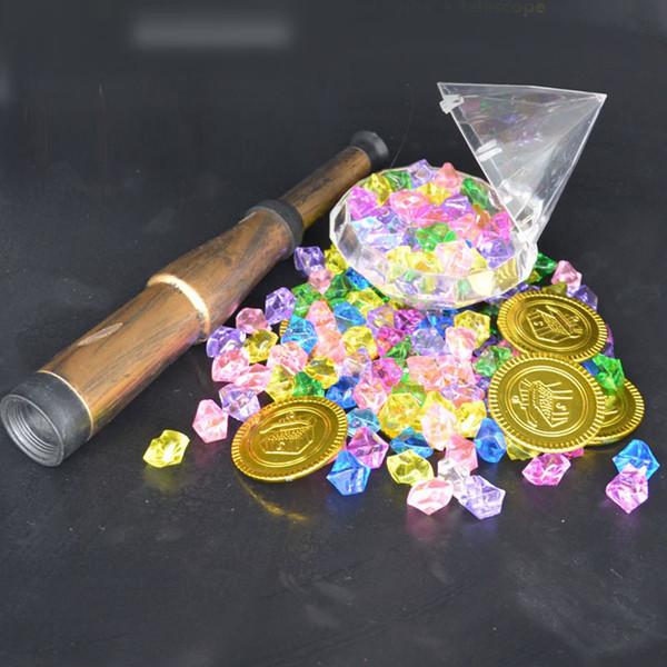 Plastic Gold Treasure Coin Captain Pirate Coin Crystal Diamond Treasure Box Acrylic Stones Gem Toys For Boys