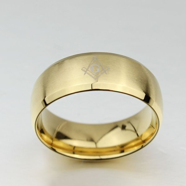 Wholesale Masonic Ring New Fashion Jewelry Gold Plated Free Mason Rings For Man Stainless Steel Freemason