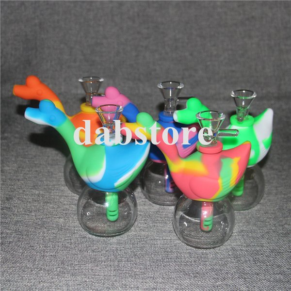Newest Water swan Silicone Water Pipe With Galss Bowl Flexible Smoking Pipe Concentrate Glass Bong Tobacco Water Pipe