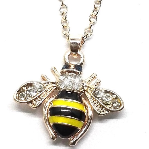 cute bee Pendant Necklaces Dripping oil yellow black color blue Rhinestone Simple necklace 2018 new the gift for friend lover wholesale