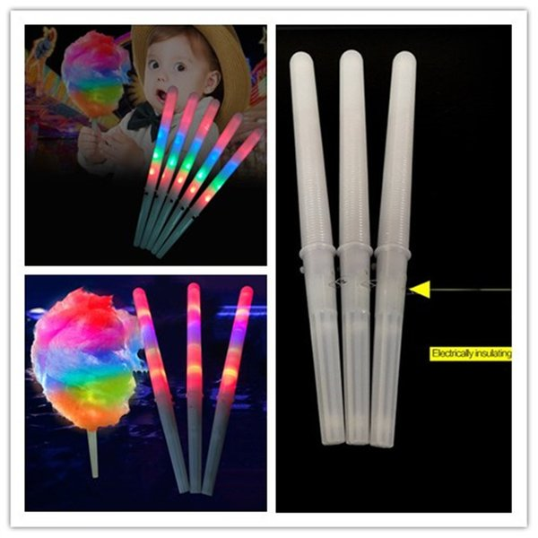Colorful LED Cotton Candy Sticks Glow Light up Floss Stick for Christmas Birthday Party Prop Flashing Sticks