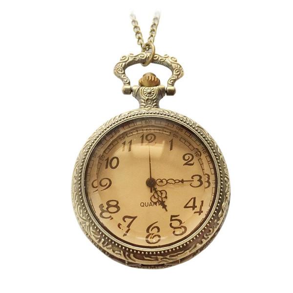 Yeni Moda Vintage Antik Cam Koyu Kahverengi Kuvars Pocket saat Kadın Erkek Takı Hediye için Yüksek Kalite @ 88