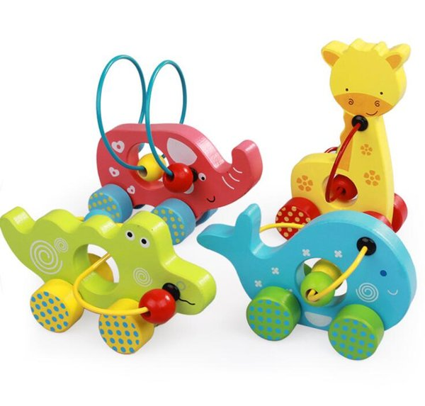 Mini Animal Maze bead Roller Coaster Wooden Educational Toys - Crocodile Whale Giraffe Elephant