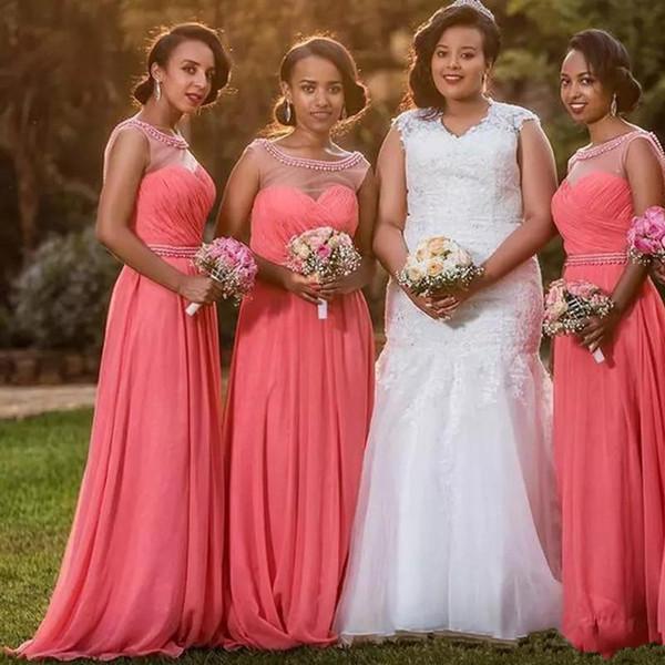 Beaded Chiffon Bridesmaid Dresses 2019 Sheer Neck Pleated Floor Length Bridesmaid Gowns Wedding Guest Dress Coral Bridesmaid Dresses Patterns
