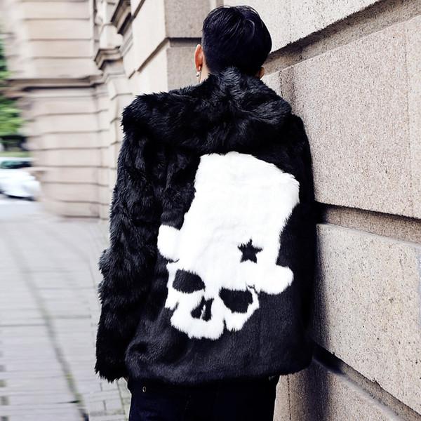 Mens Short Real Rabbit Fur Furry Coats Skull Printed Outwear Parkas Hooded Black Thicken Warm Winter