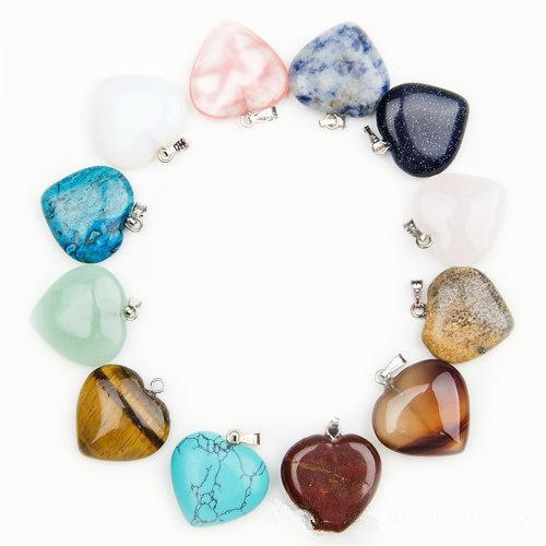 24 Colors Natural Stone Heart Pendant Amethyst Green Aventurine Pink Crystal Stone Necklace Pendant Rose Flower Natural Stone