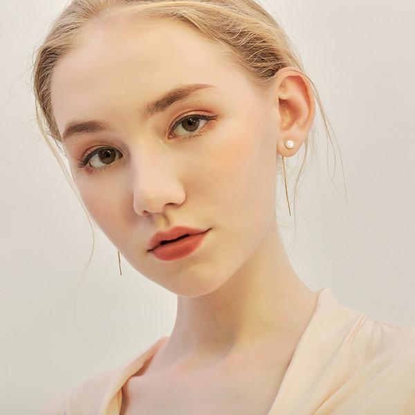 925 Sterling Silver Woman Fashion Jewelry Korean Style Gold Color Tassel Drop Earrings Brincos Pendientes Dangle Earrings N28