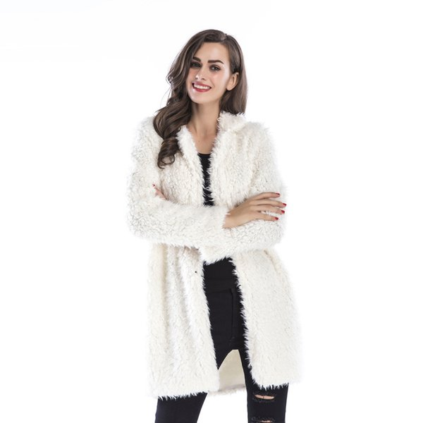 2018 autumn&winter women new high end elegant long sleeved lamb wool jacket lapel furry mid long coat