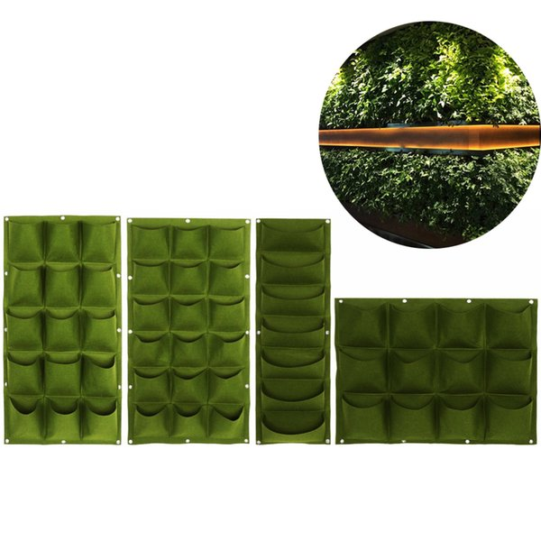 18/15/12/7 Pockets Vertical Vegetable Garden Indoor Growing Pot Hanging Wall Outdoor Indoor Plants Strawberry Container Grow Bag