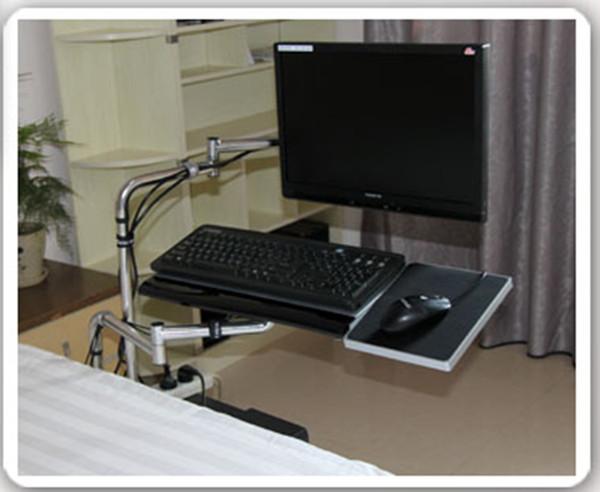 OK Tray Bedside Monitorhalterung Tastaturhalterung Klappbar 360-Grad-Drehung Frei hebend Schwenkbar Tilt TV-Halterung Bed Edge Clamping