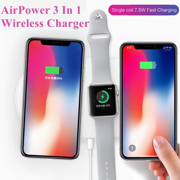 AirPower Triple Wireless Ladegerät für iPhone X 8 Plus Apple Watch für Samsung S8 S9 Plus 3 in 1 Wireless Ladegerät mit Kleinpaket 5pcs /