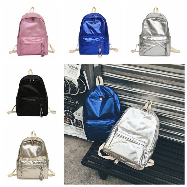 5 colors Holographic Backpack Women Large Capacity Travel PU Bling Backpack Girls Fashion Shoulder Bags School outdoor Bag GGA791