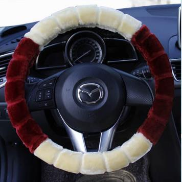 Incredible Short Plush Winter Autumn Car Steering Wheel Cover 38Cm 14 9 Beige With Burgundy Anti Slip Woman Lady Car Interior Decoration Tie Dye Steering Wheel Pabps2019 Chair Design Images Pabps2019Com