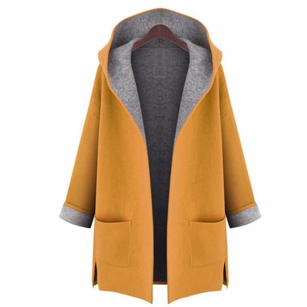 2018 lâche amincissant solide manteau à manches longues occasionnel manteau poche capuche en laine grande taille à points ouverts femme porter tranchée S18101202