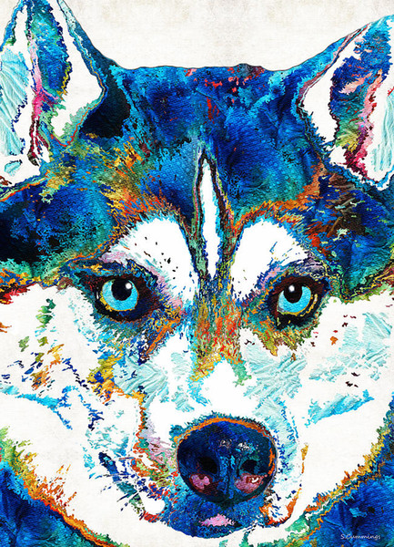 YJ ART colorful husky Artwork Unframed Modern Canvas Wall Art for Home and Office Decoration,Oil Painting ,Animal painting ,Frame painting