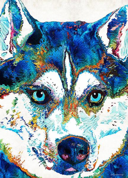 YJ ART coloré husky Artwork Sans Cadre Moderne Toile Art mural pour la décoration de maison et de bureau, peinture à l'huile, peinture animalière, peinture sur cadre