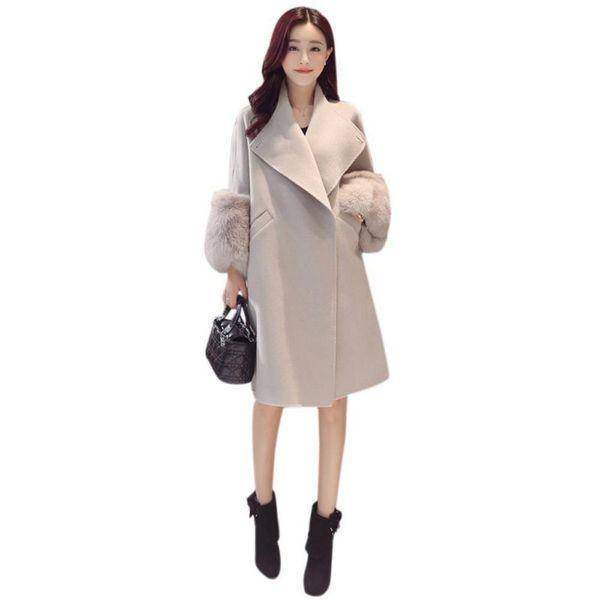 Cappotto lungo da donna lungo in pelliccia sintetica con maniche lunghe in pelliccia da uomo