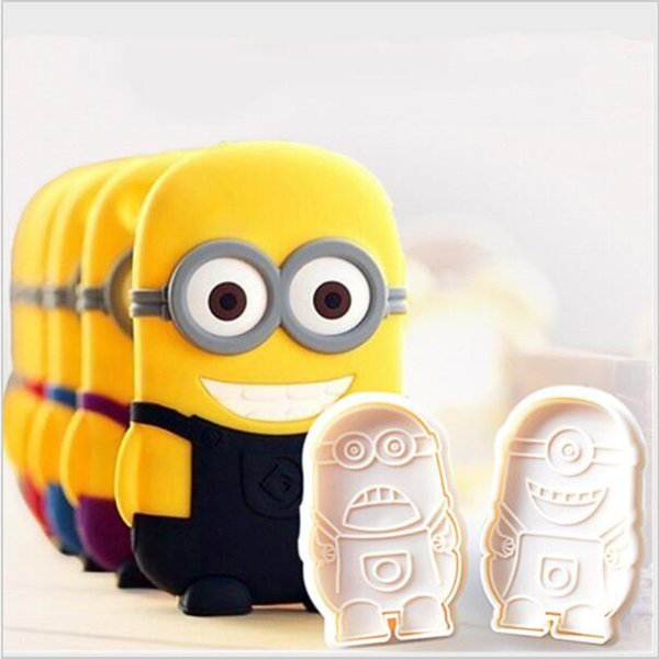 Newest 2PC /Lot Minions Plunger Cutter Cake Decorating Molds Cute Plastic Minions Fondant Cake Cutter Sugar Craft Baking Tools