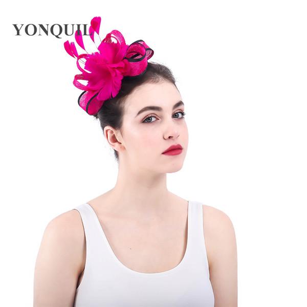 Перо цветок свадьба чаепития элегантных женщин шляпы chuch волос головные уборы аксессуары с расчески sinamay fedora SYF337