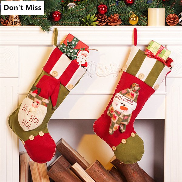 Christmas Tree Hanging Ornaments 2pcs/lot Santa Claus+Snowman Christmas Stockings New Year Decorations Gift Bags Candy Organizer