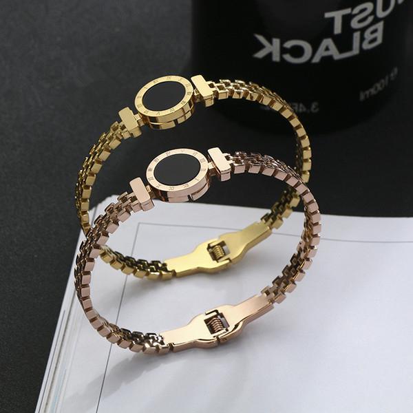 Paslanmaz çelik bilezik Dijital Roma hollow bilezikler 18 K gül altın kaplama bilezik titanyum Bileklik Kadın Bilezik moda Takı