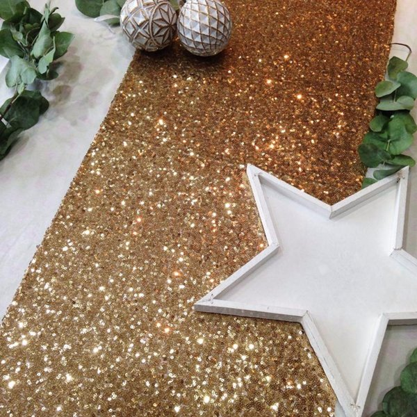 Fengrise Rose Gold Silver Sequin Table Runner Wedding Decoration Sparkly Tablecloth Birthday Party Event Bling Table Supplies