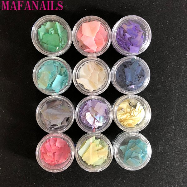 1Set 12 Different Colors Of Nail Shell Slices Natural Pearl Light Nail SeaShell Sequin Shell Charm Manicure Slice DIY Salon Tips