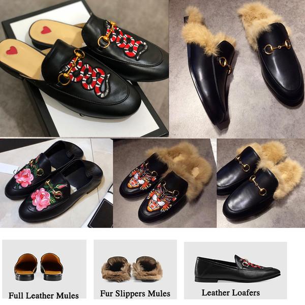 Brand luxury de igner princetown fa hion mule flat chain ladie ca ual hoe women men fur lipper genuine leather w01