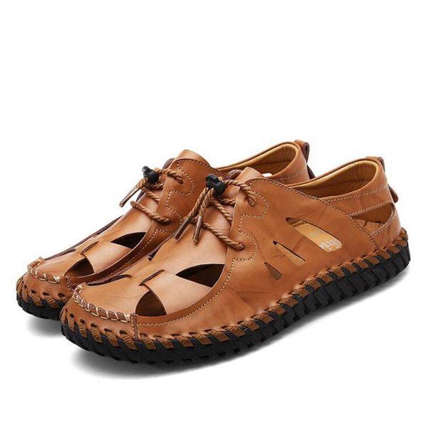 Hot Sale Men's Sandals Summer Soft Bottom Hole Roman Casual Cow Leather Sandals For Men Male Beach Shoes Drvier Loafer Sandals