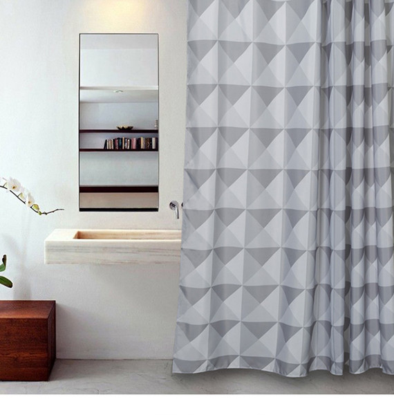 Aimjerry White and Grey Bathtub Bathroom Fabric Shower Curtain with 12 Hooks 71Wx71H High Quality Waterproof and Mildewproof