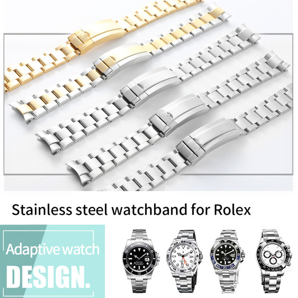best selling Watchband 20mm Watch Band Strap 316L Stainless Steel Bracelet Curved End Silver Watch Accessories Man Watchstrap for Submariner Gold +Tools