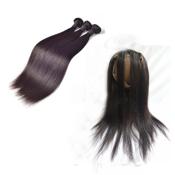 Brazilian Virgin Hair Bundles With 360 Lace Frontal Closure 22.5*4*2 Straight Unprocessed Human Hair Weaves Double Weft Extensions 4pcs