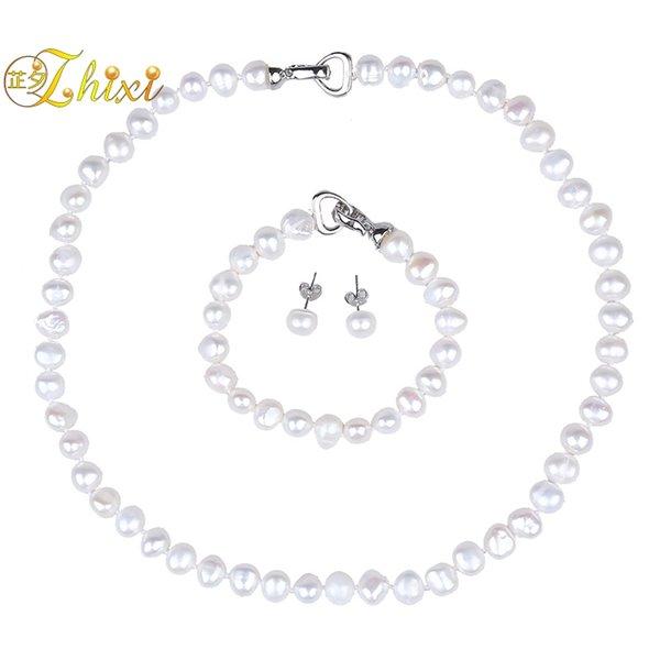 [ZHIXI] Conjuntos de joyería de perlas para las mujeres Collar de perlas barroco natural Pendientes de pulsera 8-9 mm Joyería fina Regalo de moda [SET1004]