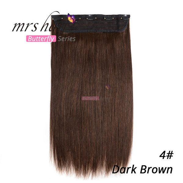 90g 100g 1 unids / set 18 22 pulgadas Remy # 4 Clip de cabello humano marrón oscuro en extensiones de cabello Pelo liso envío gratis