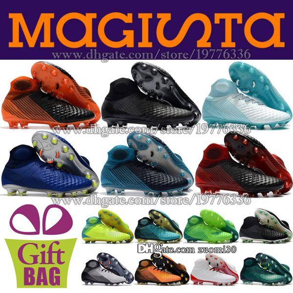 High Ankle Soccer Boots Magista Obra II FG AG Football Shoes Socks Outdoor Mens Football Cleats Magista ACC Soccer Shoes Boots Size 39-46