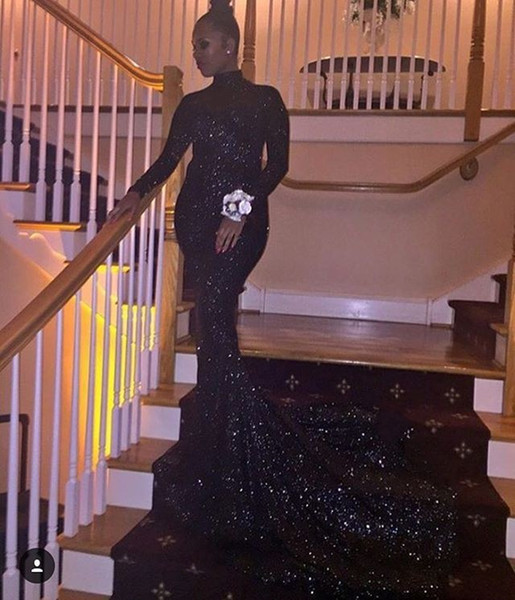 2018 sexy cheap plus size sequined black prom dresses mermaid long sleeves formal evening gowns dresses black girl prom dress