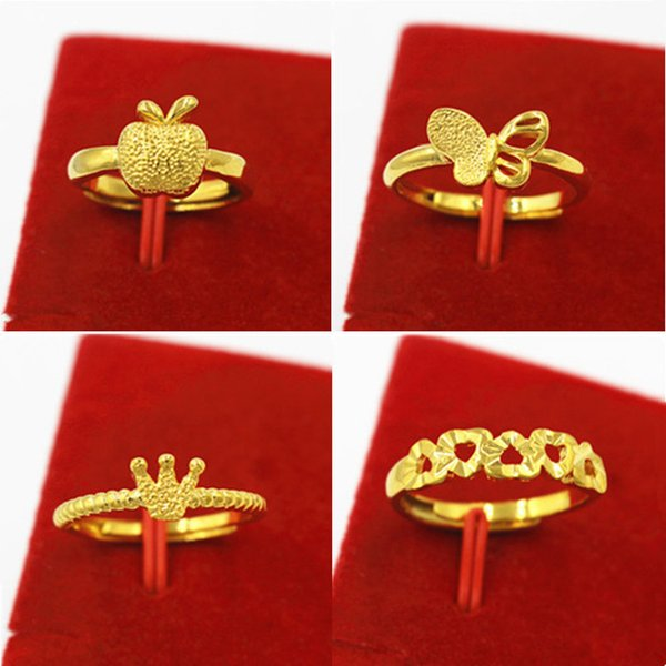 No color Euro copper plated Vietnamese Sha gold little apple ring butterfly delicate love ring