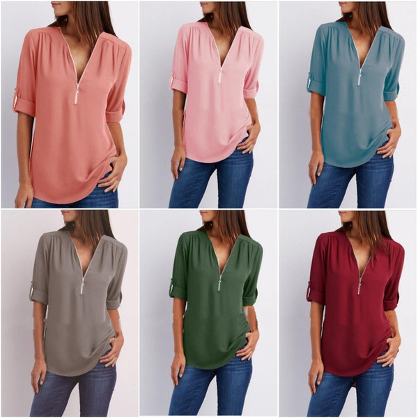 Frauen-Blusen-Reißverschluss-Sommer-beiläufige T-Stücke lösen tiefes V-HALS Tops reizvolle lange Hülsen-niedrige Schnitt-Damen-Chiffon- T-Shirt-Blusent-shirts