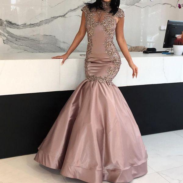 Dubai High Neck Prom Dress Glamorous Beads Applique Cap Sleeves Formal Gown Party Dress Elegant Satin Mermaid Floor Length Evening Dresses