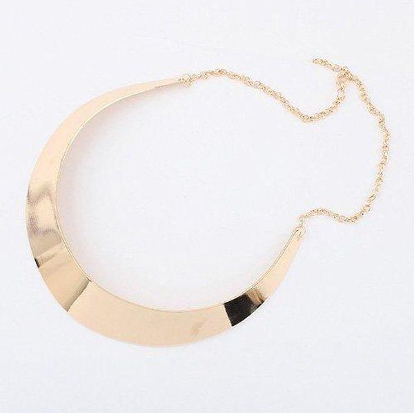 F&U N372 Street beat simple shape metal Choker Necklace (wide version of gold)!