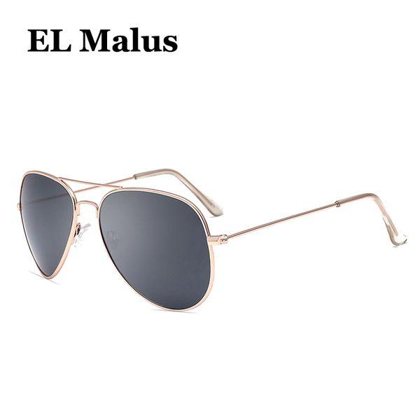 [EL Malus] Retro Metal Frame Pilot Polarized Sun Glasses Mujeres Mens Aviation Gafas de sol Blue Grey Lens Mirror Silver Gold Shades